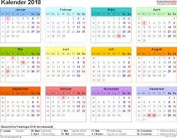 Kalendar 2018 Nederland Kalender 2018 Zum Ausdrucken In Excel 16 Vorlagen Kostenlos