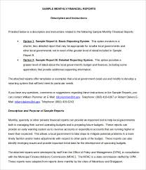 monthly report template monthly financial report template word