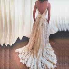 backless wedding dresses a line spaghetti straps lace sweep backless wedding dress