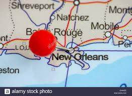 Map Of New Orleans Usa by Close Up Of A Red Pushpin On A Map Of New Orleans Usa Stock Photo