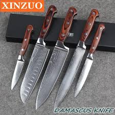 wood handle kitchen knives xinzuo high quality 73 layers chef knife damascus stainless steel