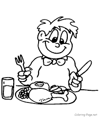 thanksgiving coloring pages eating dinner coloring
