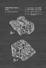 Harley Home Decor Harley Motorcycle Engine Head Patent 1985 Patent Print