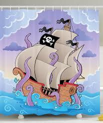 Ship Decor Home by Amazon Com Pirate Ship Decor Cartoon Boat Octopus Kraken Sailor