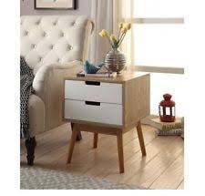 mid century modern nightstand table wood end white bedside night