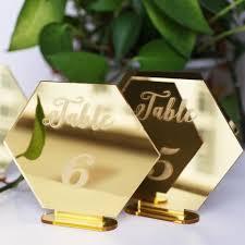 acrylic table numbers wedding hexagon mirror gold table number wedding standing numbers acrylic