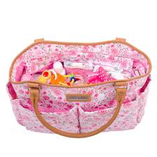 laura ashley 6 piece tote diaper bag pink floral babies