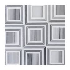 contemporary floor white grey marble mosaic square tile bathroom