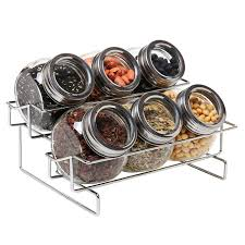 Metal Canisters Kitchen Amazon Com 6 Jar Metal And Glass Food Spice Kitchen Storage