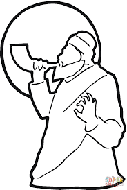 man is blowing shofar near the moon coloring page free printable