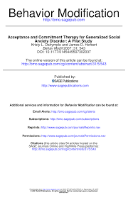 acceptance and commitment therapy for generalized social anxiety