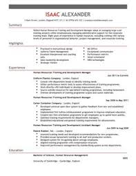 training and development cv example for human resources livecareer