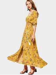 floral maxi dress belted slit button up floral maxi dress yellow maxi dresses s zaful