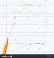 Ivory Coast Map Ivory Coast Map Hand Drawn Pencil Stock Vector 674735893
