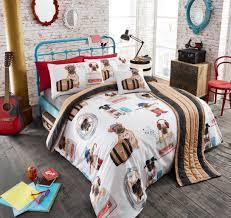 comic pug bedding 5pc full queen duvet cover set ensemble