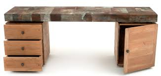 Metal Office Desk Industrial Style Office Desk Reclaimed Aged Metal Wood