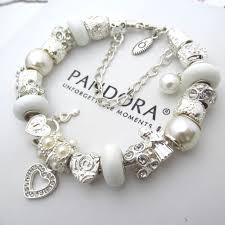 pandora sterling bracelet images Authentic pandora sterling silver bracelet with white pearlescent jpg