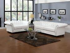 White Tufted Loveseat Acme 50165 Camden White Bonded Leather Sofa Ebay