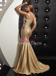 mermaid trumpet taffeta gold one shoulder floor length cut outs