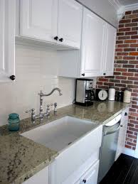 contemporary kitchen with white lowes subway tile backsplash ideas