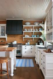 Stainless Steel Kitchen Backsplash With Shelf Kitchen Blue Striped Fabric Rug With White Lacquered Wood