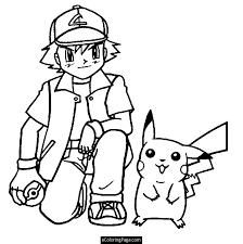 pokemon ash ketchum pikachu anime coloring printable