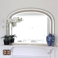 Decorative Mirrors Diana Antiqued Silver Overmantel Overmantle Mirror Mirrors