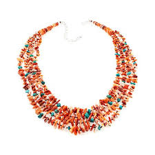 turquoise gem necklace images Jay king orange spiny oyster shell and turquoise multi strand 20 1 jpg