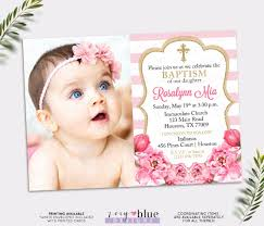 Baptismal Invitation Card Design Pink And Gold Baptism Invitation Peony Christening Invite
