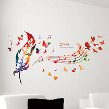50 70cm diy feather musical note bedroom vinyl art decal wall