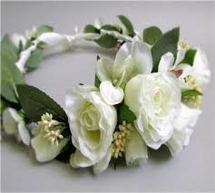 crowning floral spray ivory flower crown of spray roses and hydrangea bridal