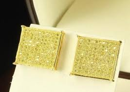 gold back earrings 14k gold square lemonade yellow canary stud back earrings