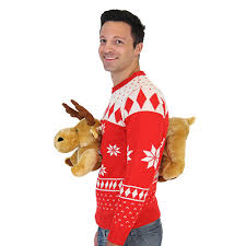 3d christmas sweater with stuffed moose