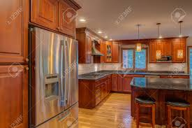 Finished Kitchen Cabinets Cornor Newly Finished Kitchen With Granite Counter Top Hardwood