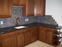 small kitchen tile backsplash ideas with brown cabinet 2582