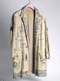 graffiti covered leather jacket signed by jean michel basquiat