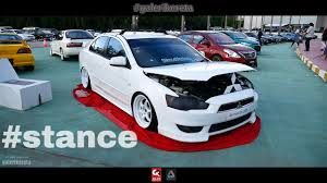 mitsubishi lancer gt stance all white edition borneo kustom show