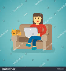 graphic design works at home work home freelancer woman cat stock vector 721614040