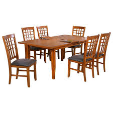 brown mission style dining room chairs with high perforated
