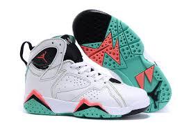 kid jordans kids air 7 retro sneakers white pink green black 75025