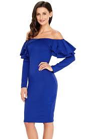 blue bodycon dress royal blue ruffle the shoulder sleeve bodycon dress