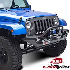 light gray jeep rock crawler front bumper built in led light with winch plate for