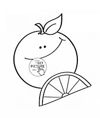 happy cartoon orange fruit coloring page for kids fruits
