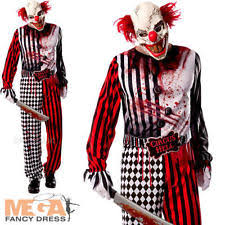 Halloween Costumes Scary Clowns Evil Clown Mens Fancy Dress Halloween Circus Gore Scary Spooky