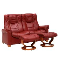 danish modern style red leather reclining loveseat with two