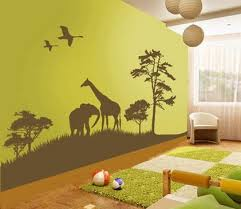 Beautiful Wild Animals Jungle Forest Cartoon For Removable Kids - Animal wall stickers for kids rooms