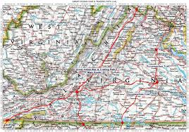 Virginia Map Counties by Historic Roads Trails Paths Migration Routes Virginia