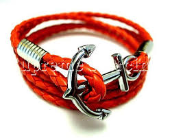 anchor leather bracelet man images Men women silver gold anchor steel surfer black brown white red jpg