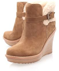 ugg s anais shoes chestnut lyst ugg chestnut anais wedge boots in brown