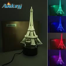 eiffel threetoo tower 3d multi color change usb button led decor